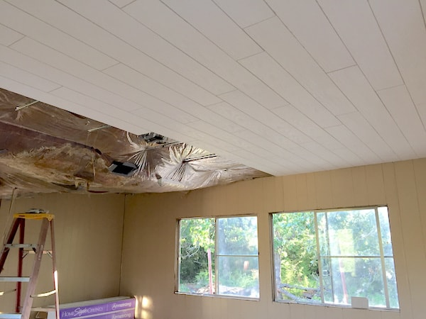 ceiling repair in a mobile home