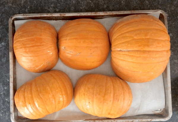 Getting pumpkins ready to purée and freeze
