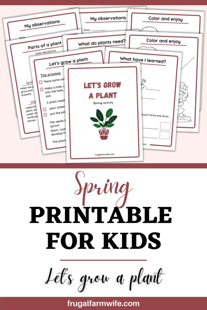 spring gardening printable for kids