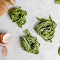 Homemade Spinach Pasta with Garlic Dill Sauce