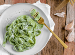 spinach pasta on a plate