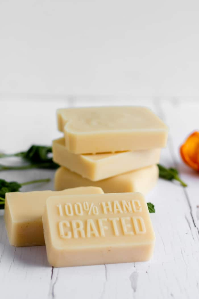 goat milk soap with orange and spearmint essential oils