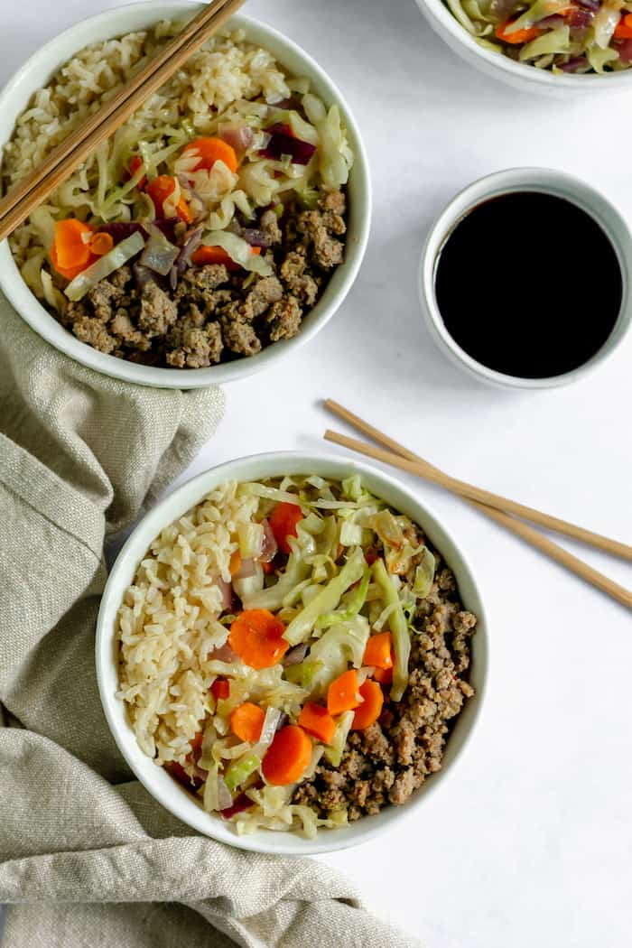 egg roll in a bowl - an instant hit! I love how it only takes a few minutes to cook!