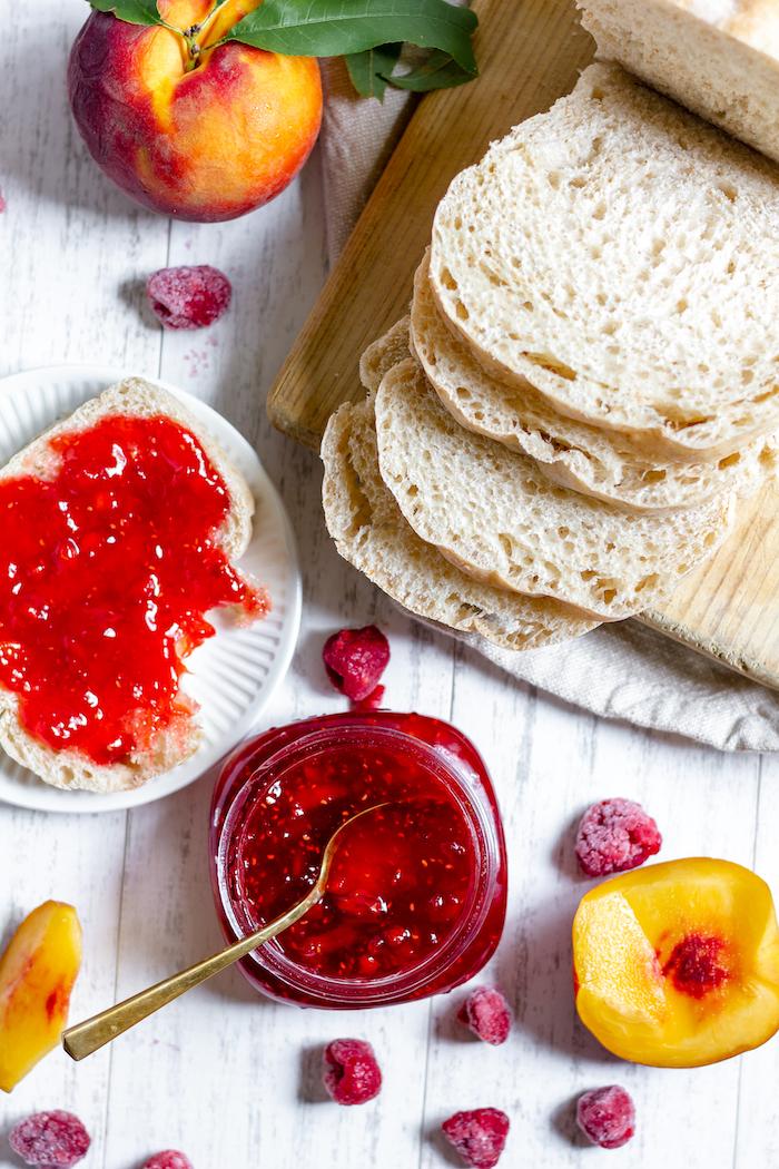 homemade raspberry jam on bread