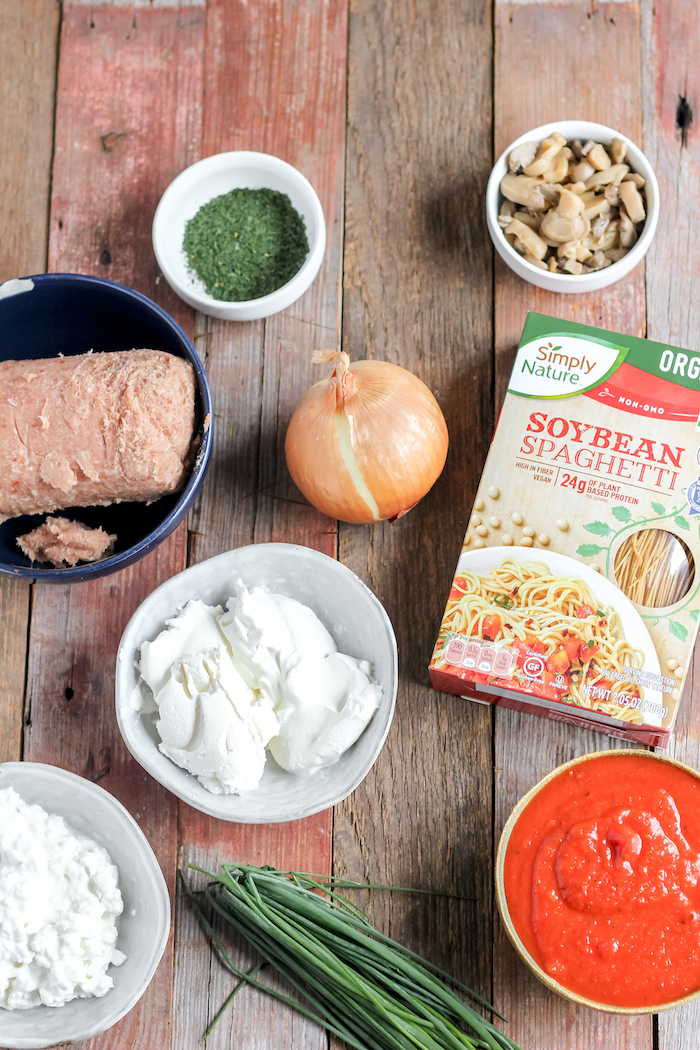 ingredients for layered spaghetti