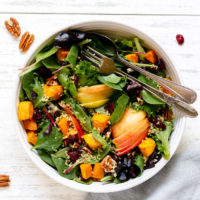 recipe for delicious salad with sweet potatoes and apples