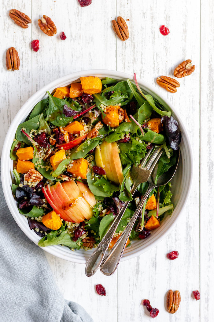 Fall harvest salad recipe - a cozy way to eat your greens!